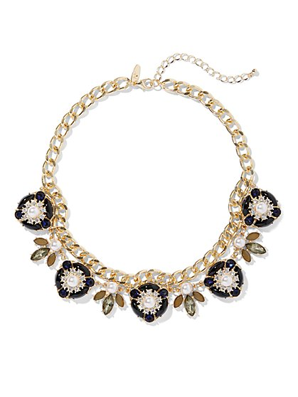 Faux-Stone Goldtone Floral Collar Necklace - New York & Company