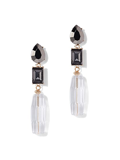 Faux Stone Goldtone Linear Drop Earring New York Company
