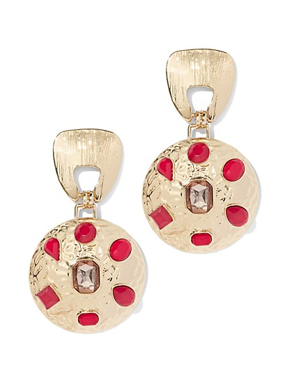 Faux-Stone Goldtone Statement Drop Earring - New York & Company