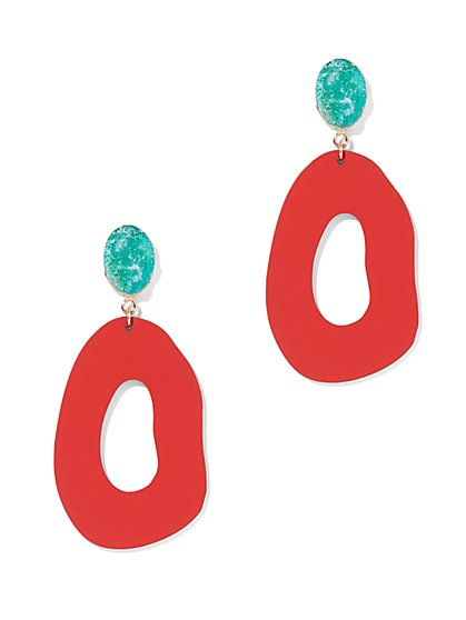Faux-Stone Hoop Drop Earring - New York & Company
