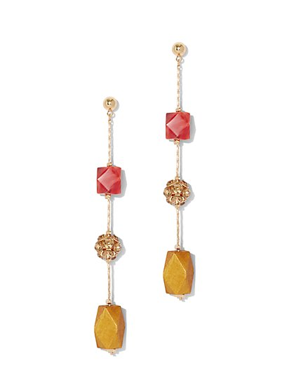 Faux-Stone Illusion Drop Earring - New York & Company