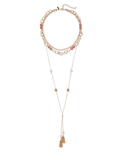 Faux-Stone Layered Tassel Necklace - New York & Company