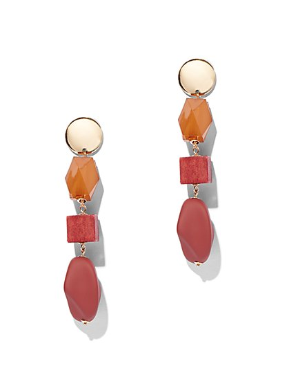 Faux-Stone Linear Drop Earring - New York & Company