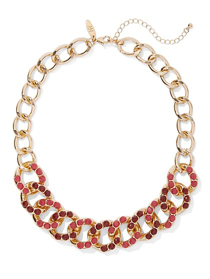 Faux-Stone Link Collar Necklace - New York & Company