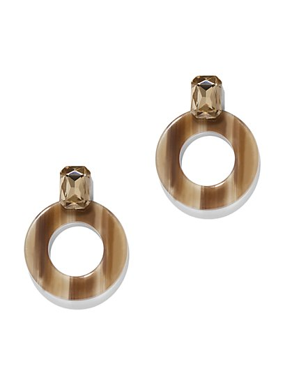 Faux-Stone & Open-Circle Drop Earring - New York & Company