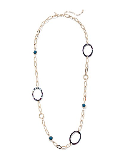 Faux-Stone & Open Circle Goldtone Necklace - New York & Company