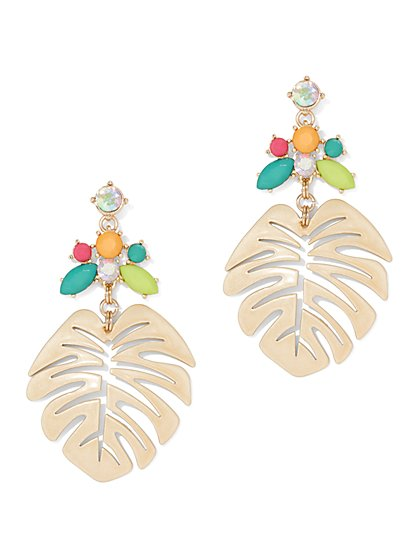 Faux-Stone Palm Leaf Drop Earring - New York & Company