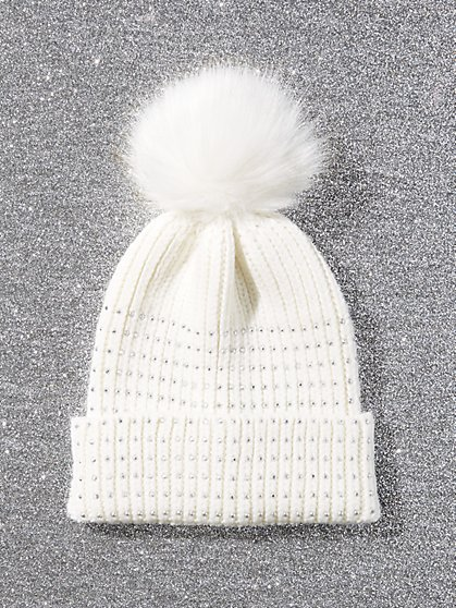 Faux-Stone Pom-Pom Hat - New York & Company