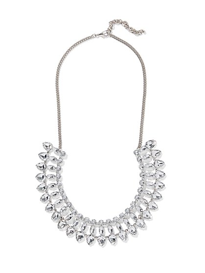 Faux-Stone Silvertone Statement Necklace - New York & Company