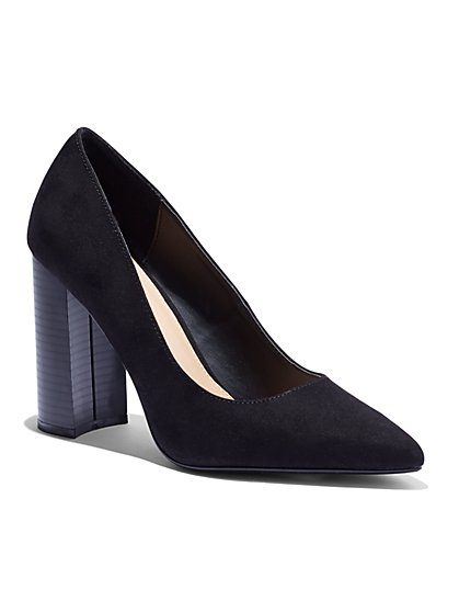 Faux-Suede Block-Heel Pump - New York & Company