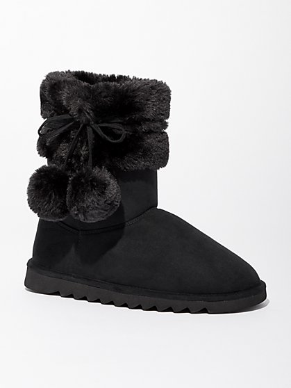 Faux-Suede Boot Slippers - New York & Company