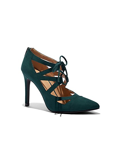 Faux-Suede Lace-Up Pump - New York & Company