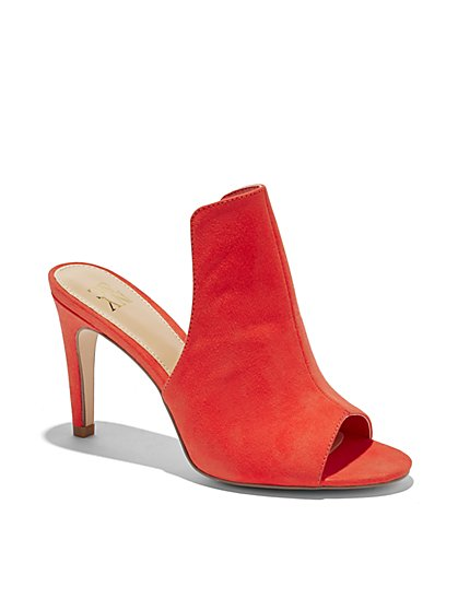 Faux-Suede Peep-Toe Sandal - New York & Company