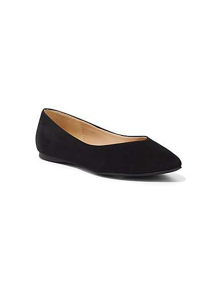 Faux-Suede Pointed-Toe Flat - New York & Company