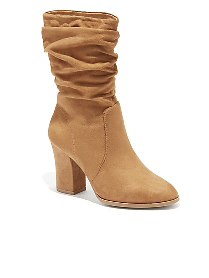 Faux-Suede Scrunch Bootie - New York & Company
