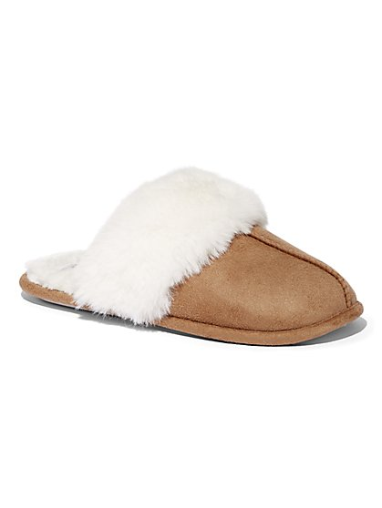 Faux-Suede Scuff Slippers - New York & Company