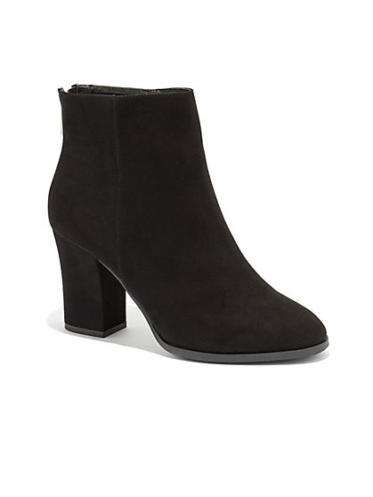 Faux-Suede Zip Accent Bootie - New York & Company