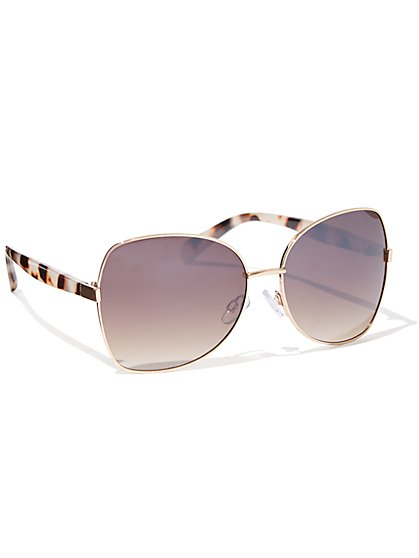 Faux-Tortoise Accent Goldtone Sunglasses - New York & Company