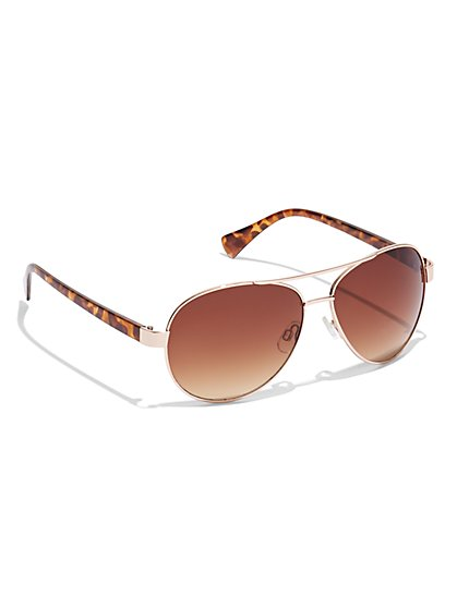 Faux-Tortoise Aviator Sunglasses - New York & Company