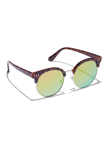 Faux-Tortoise Browline Sunglasses - New York & Company
