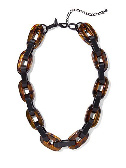 Faux-Tortoise Chain-Link Collar Necklace - New York & Company