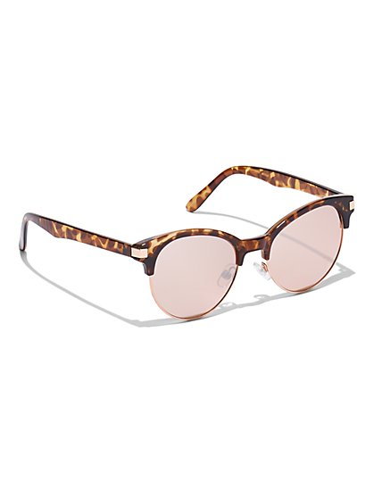 Faux-Tortoise Color-Lens Sunglasses - New York & Company