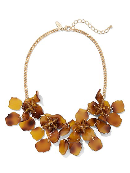 Faux-Tortoise Floral Statement Necklace - New York & Company