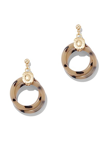 Faux-Tortoise Goldtone Hoop Drop Earring - New York & Company