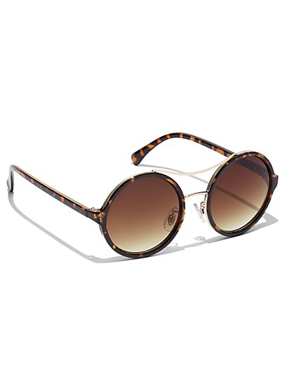 Faux-Tortoise Gradient Lens Sunglasses - New York & Company