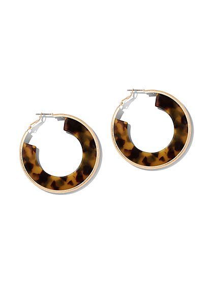 Faux-Tortoise Hoop Earring - New York & Company