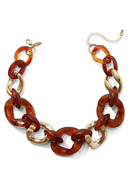 Faux-Tortoise Link Collar Necklace - New York & Company