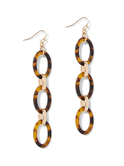Faux-Tortoise Link Drop Earring - New York & Company