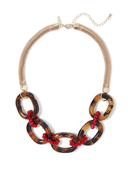 Faux-Tortoise Link Necklace - New York & Company