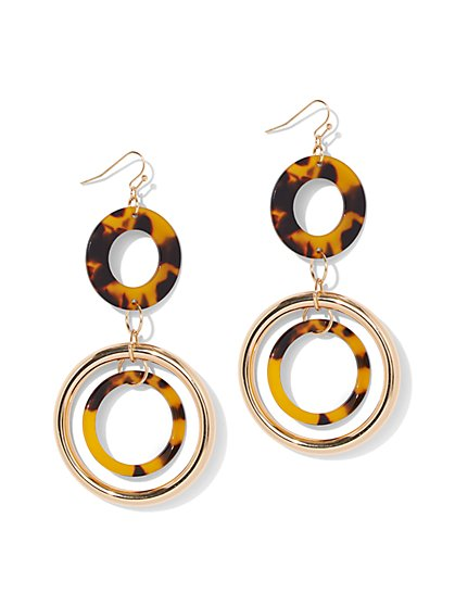 Faux-Tortoise Orbital Drop Earring - New York & Company