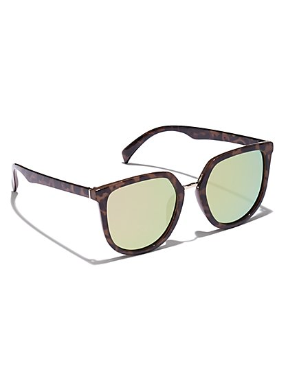 Faux-Tortoise Oval Cat-Eye Sunglasses - New York & Company