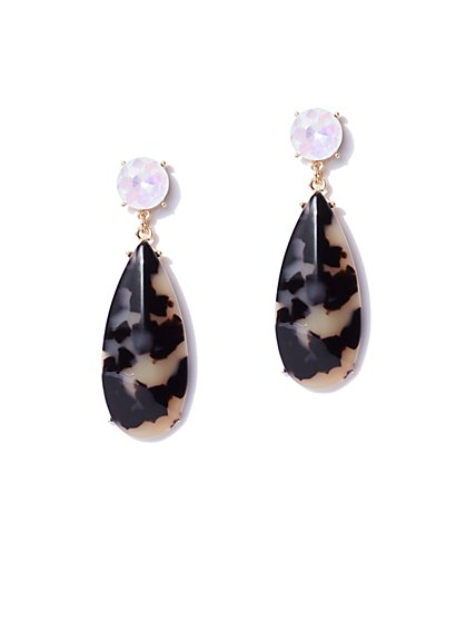 Faux-Tortoise Oval Drop Earring - New York & Company
