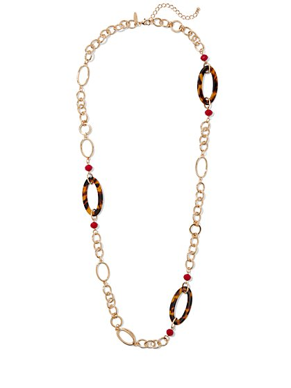 Faux-Tortoise Oval Link Necklace - New York & Company