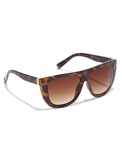 Faux-Tortoise Oversized-Frame Sunglasses - New York & Company