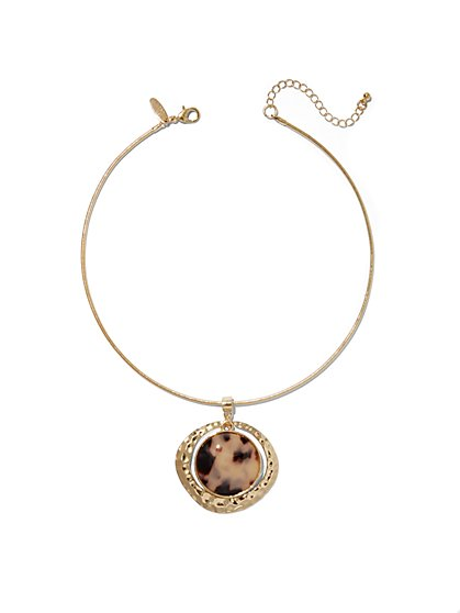 Faux-Tortoise Pendant Collar Necklace - New York & Company