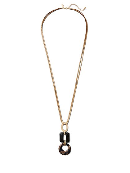 Faux-Tortoise Pendant Necklace - New York & Company