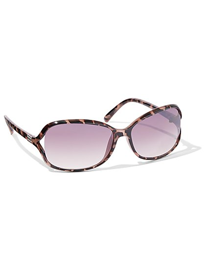 Faux-Tortoise Rectangular Open-Lens Sunglasses - New York & Company