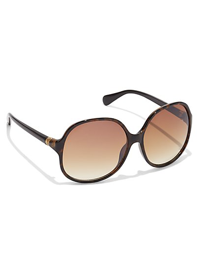 Faux-Tortoise Round Sunglasses - New York & Company