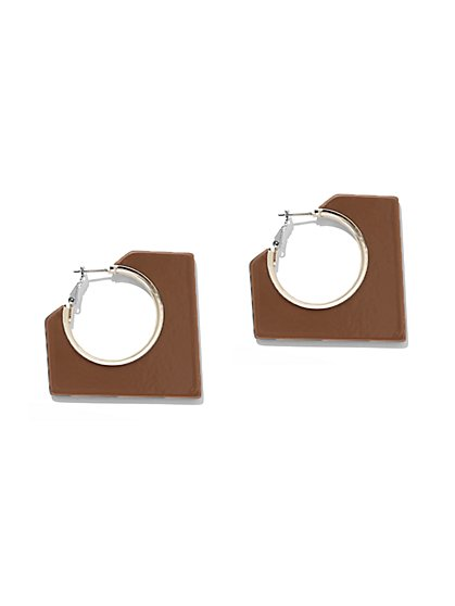 Faux-Tortoise Square Hoop Earring - New York & Company