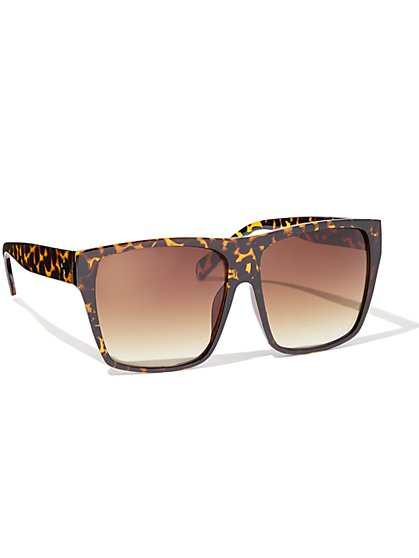 Faux-Tortoise Square Sunglasses - New York & Company