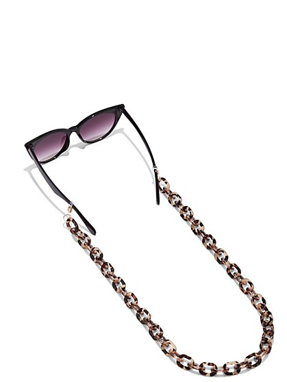 Faux-Tortoise Sunglasses Chain - New York & Company