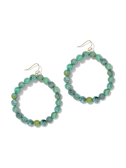 Faux-Turquoise Beaded Hoop Drop Earring - New York & Company