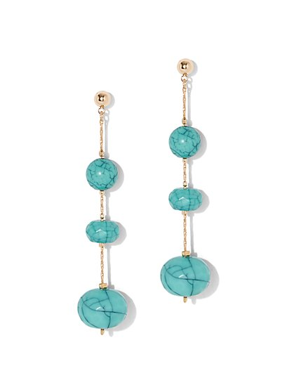 Faux-Turquoise Beaded Illusion Earring - New York & Company