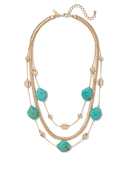 Faux-Turquoise Beaded Illusion Necklace - New York & Company