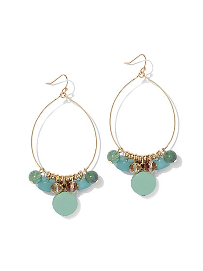 Faux-Turquoise Beaded Oval Hoop Drop Earring - New York & Company