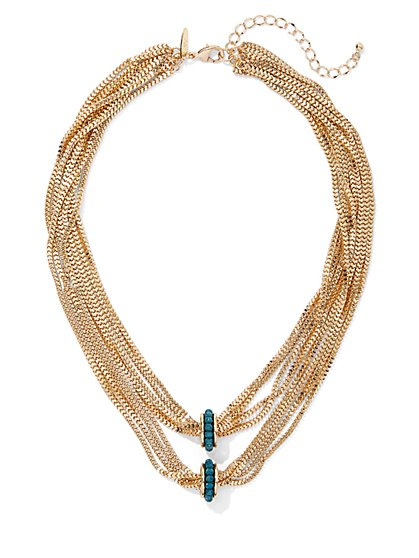 Faux-Turquoise Goldtone Layered Necklace - New York & Company
